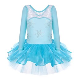 Wholesale Dancewear Dress For Kids - Elsa Ballet Tutu Dancewear Party Skating Long Sleeve Dress 2-8Y for Girls Kids Leotard Skirt Cosplay Wholesale