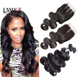 Wholesale Extensions Bundles Closure - Brazilian Virgin Hair Weaves 3 Bundles with Top Lace Closure Body Wave 8A Malaysian Peruvian Indian Cambodian Human Hair Extensions Closures
