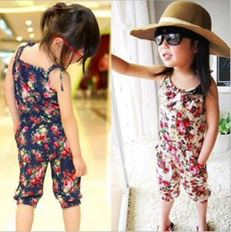 Wholesale Girls Suspender Pants - Most hot selling baby clothes Girl's Floral Jumpsuit Suspenders Trousers Pant 100% Cotton Flower Print Kids Summer Outfit,girls braces