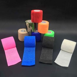 Wholesale Nail Tapes - Wholesale Cheap 24pcs 25mm Self Adhesive Bandages Grip Tapes Nonwoven Fabric For Nails Tattoo Sport Protection Grip Elastics
