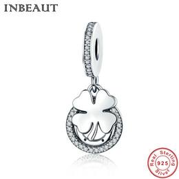 INBEAUT Clover Crystal Charm 925 collar de cadena de plata colgante de cadena para las mujeres encantos de la flor Fit Pandora pulsera desde fabricantes