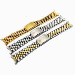 Wholesale Gold Watch Bands For Sale - Hot sale Stainless steel solid steel watch band with five beads Niu Huan 20MM pure gold and silver for Rolex