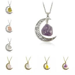 Wholesale Moon Necklace Colors - hot sale european fashion jewelry 8 colors engraved Natural stone moon woman men pendant chokers necklace
