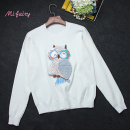 Wholesale Hand Knitted Wool Owl - Free Shipping 2017 Black White Long Sleeves Women's Sweaters Owl Sequins Embroidery Brand Pullovers Runway Sweaters S061758