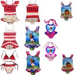 Wholesale Child Swimsuits - 10 Styles New Girls Moana Swimsuit Sets Cartoon Two-Pieces Swim Beachwear Suits Children Kids One-Piece Bikinis Clothing CCA6858 30pcs