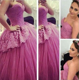 Wholesale Beautiful Prom Dresses Ball Gown - 2017 Beautiful Ball Gown Evening Dresses Sweetheart Lace Appliques Beaded Puffy Lace up Elegant Prom Gowns