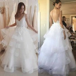 Wholesale Pink Tulle Layered Wedding Dress - Modest 2017 Beach Wedding Dresses V Neck Layered Tiered Ruffle Skirts A Line Lace Appliques Backless Bridal Gown Boho Custom Made