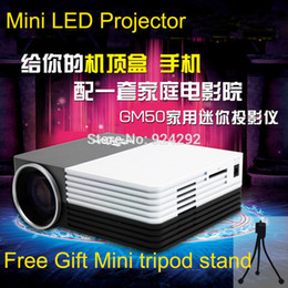 Wholesale Cheap Cost - Wholesale-Free shipping good gift GM50 1200lumens LCD LED cheap low cost projector mini led projector video game proyector beamer