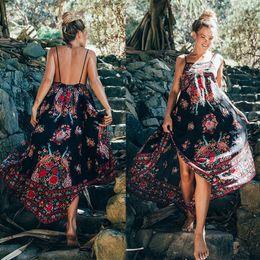 Wholesale Long Bohemian Maxi Dresses - Sexy Women Bohemian Dress Summer Party Holiday Floral Beach Long Maxi Dresses Sundress Casual Dresses Summer Sleeveless Dress