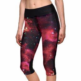 Wholesale Wholesale Galaxy Legging - Wholesale- Sexy Hot Women's 7 point pants women legging Galaxy Psychedelic Red Star digital print women high waist Side pocket phone pant