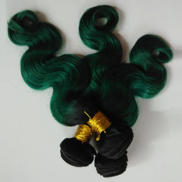 Wholesale Omber Hair Extensions - Brazilian Body Wave Hair Weave Bundles 100% Virgin Human Hair Extensions Two Tone 1B green Omber 8-28inch sexy Indian remy Hair Weave