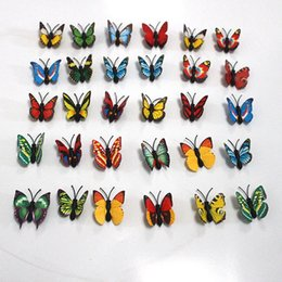 Wholesale Holiday Decals - Simulation Butterfly PVC Home Decoration Buterfly Wall Stickers Home Decal Magnet Crafts Holiday Decoration