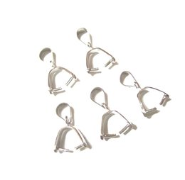 Wholesale Sterling Pinch Clip Bail - 10pcs lot 925 Sterling Silver Pinch Clip Bail For Pendant DIY Craft Jewelry W19 Free Shipping