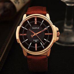 Wholesale Cheap Wholesale Watch Batteries - 10% 2016 2017 hot sale YAZOLE 271 Fashion Luxury Brand Watches Men PU Leather Band Live Waterproof Quartz watch cheap sports wristwatch