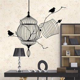 Wholesale Bird Cage Bedroom Stickers - New Style DIY Graphic vinyl wall stickers bird cage for bedroom decorative wall decals mural home decor vinilo pegatinas de pared 8231