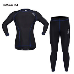 Wholesale Cycle Clothing Wholesale - Original SALETU Long Sleeve Tight Fitness Clothes Outdoor Spring Autumn Full Cycling Suit Running Sports Tops Long Pant Wholesale 2518009