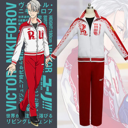 Wholesale Ice Man Costume - Japanese Anime Cosplay Yuri On Ice Cosplay Victor Nikiforov Costume  Sports Wear Top + Pants per set