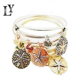 Wholesale Expandable Bangle Bracelets - Hot Sell Bangles Fashion Charms Starfish Sea Star Love Alloy Pendant Bracelets Vintage Expandable Wire Cuff Girls Bracelet