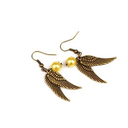 Wholesale Golden Statement - Harry Golden Snitch Earrings Drop potter earrings Antique Bronze&Silver Wings for Women statement jewelry movie jewelry drop ship 170250