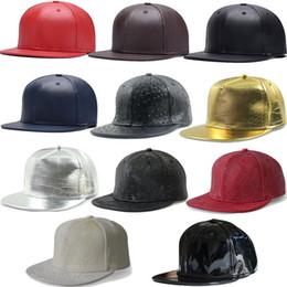 Wholesale Street Board - HIP HOP DIY Blank PU Hats Adjustable light board solid color PU leather hip-hop baseball cap bboy flat edge street hats