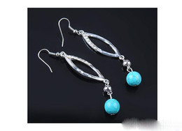 Wholesale Rhinestone Dance Earrings - Fashion Eye Shape Round Turquoise Hook Earrings For Girls Prom Dance Charms Women Ladies Party Jewelry Gift