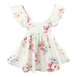 Argentina 2017 INS bebé niña niño pequeño ropa de verano rosa rosa azul vestido floral Jumper mono Halter cuello volante de encaje Sexy espalda ancha bowknot Suministro