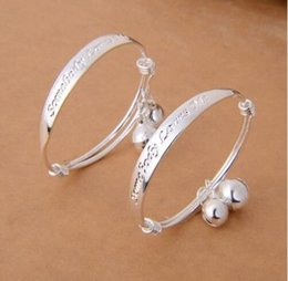 Wholesale Baby Jewelry Silver Bracelet - Hot sale 10 pairs lot 925 silver plated English alphabet love Baby bracelet jewelry children bangle love baby bangle jewelry drop shipping
