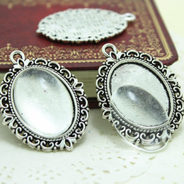 Wholesale 25mm Silver Tray - Sweet Bell Min Order 10sets antique silver filigree cameo cabochon 18*25mm base setting pendant tray + clear glass cabochons D005