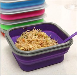 Wholesale Plastic Lunchboxes - Silicone Collapsible Portable Healthy Lunch Bowl Boxes Folding Food Storage Container Lunchbox Eco-Friendly Color Random YYA111