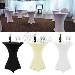 Wholesale Bistro Tables - 1Piece 80cm White Black Ivory Cocktail Table Cover Lycra Spandex Stretch Tablecloth For Bar Bistro Wedding Party Event Decor