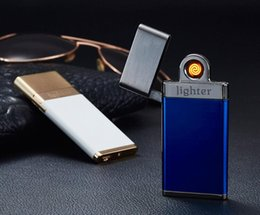 Wholesale Light Cigarette Lighter Rechargeable - Super Slim and Light push double lighter cigarette lighter USB rechargeable windproof lighter 6 colors With Gift box