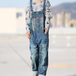 Wholesale Ethnic Harem Pants - Wholesale- Ethnic Print Ripped Denim Overalls Distressed Jeans Women Jean Jumpsuit Boyfriend Wide Leg Jeans Harem Pants Plus Size Trousers