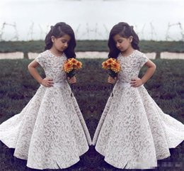 Wholesale Train Pictures For Kids - .Lace Flower Girl Dresses For Wedding Vintage Jewel Short Sleeves A Line Girls Pageant Dress Sweep Train Kids Birthday Prom Dress Formal Wea