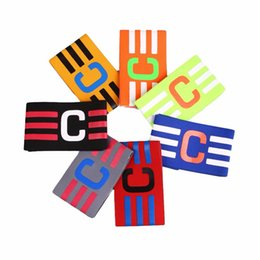 Wholesale Adjustable Wrist Bands - Wholesale- Football Captain Skipper Armband Soccer Hockey Rugby Sports Competition Adjustable Band