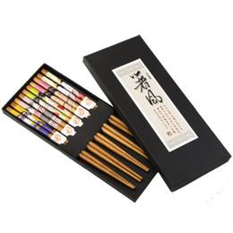 Wholesale Bamboo Flatware - 5 Pairs Japanese Style Tableware Chopsticks Sticks Natural Bamboo Handmade Flatware Set with Gift Box