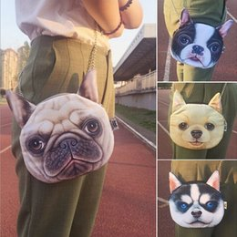 Wholesale Cute Cartoon Dog Backpack - Cute animal 3D print shoulder bags dogs cats printing Satchel chain messenger bags