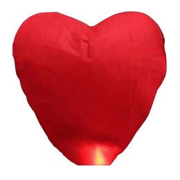 Wholesale Heart Chinese Wish - Wholesale- Heart Shaped Sky Lantern Chinese Kongming Lantern Wishing Lamps (Red)