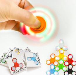 Wholesale Wholesale Tip Up Lights - LED Light Up Hand Spinners Fidget Spinner Top Quality Triangle Finger Spinning Top Colorful Decompression Fingers Tip Tops Toys In Stock
