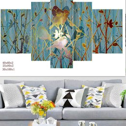 Wholesale Irregular Pattern - Living Room Wall Art Paintings Unframed Landscape Spray Paints Oil Painting Home Wall Decor Refreshing Apricot Blossom Patterns 5 Panels