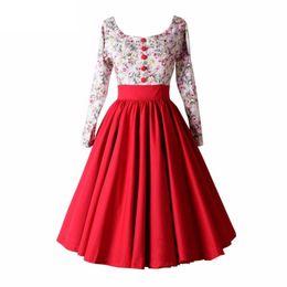 Wholesale Long Rayon Dress - 2017 Fashion Summer Spring Women Long Sleeve Dress Floral Vintage Retro Dresses With High Waist Vestidos De Festa Robe Femme