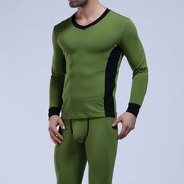 Wholesale Mens Suit Pajamas - WJ Brand Winter Thermal Long Johns Set Men Cotton Underwear 2017 Comfy Mens Warm Pajamas Gay Sleepwear Tops & Leggings Pants