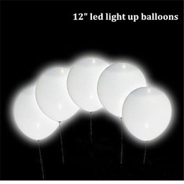 Wholesale White Led Balloons - 12 inch magic led wedding ballons decorations glow in dark flashing light up balloon white latex balloons wholesale drop shipping
