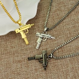 Wholesale Gold Guns - Hip hop long necklace Gold Rose Plated Pistol Uzi Gun 60cm Chain Pendants & Necklaces Men Women HipHop Maxi Necklace Men Jewelry