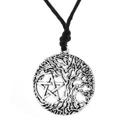 Wholesale male ropes - comejewelry Tree of Life Yggdrasil Portugal Men Pendant Pentacle Pentagram Wicca Pagan Vintage Accessories Male Necklace Women Collar