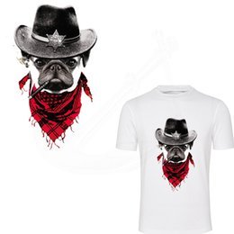 Wholesale Diy Police - DIY T-shirt Sweater Heat Transfer Bulldog police stickers 27*17cm iron on patches