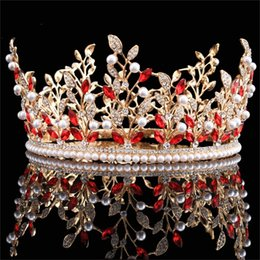 Wholesale Red Hair Products - Wholesale Red Quinceanera Crown Quality Products Hair Jewelry Princess Head Band Tiaras Queen Wedding Bride Crowns