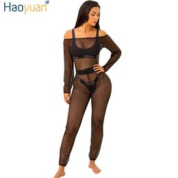 Wholesale Womens Sexy See Through Jumpsuits - Wholesale- HAOYUAN See Through Off Shoulder Mesh Sexy Jumpsuit Hollow Out Night Club Beach Slash Neck Long Sleeve Rompers Womens Jumpsuit