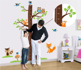 Wholesale Kids Growth Chart For Wall - squirrels forest animals growth chart wall stickers for kids room decoration cartoon mural art home decals children gift height measure