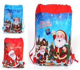 Wholesale woven gift bags - New Christmas Bag Children Drawstring Backpack Non-woven Backpack Beam Pockets Christmas Gift Bags 34 * 27 cm