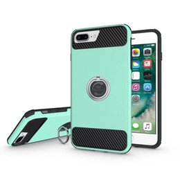 Wholesale Universal Carbon Fiber - Universal Iphone Case For Iphone X 8 7 6 6s Plus Samsung S8 Plus Hybrid Preminum Carbon Fiber Textures Cover With Ring Kickstand OPPBAG